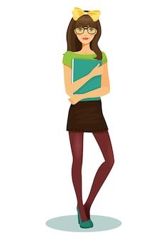 Bonita estudiante con gafas y libro en mano ilustración vectorial