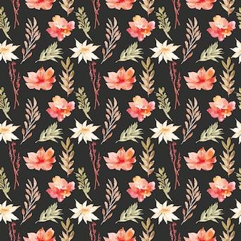 Bonita flor acuarela de patrones sin fisuras