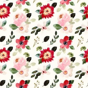 Bonita flor floral acuarela de patrones sin fisuras