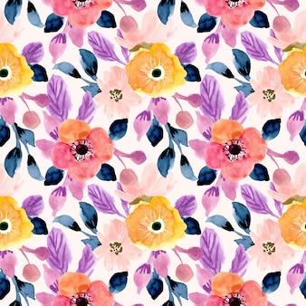Bonita flor de patrones sin fisuras acuarela