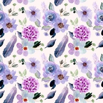 Bonita flor y pluma de patrones sin fisuras acuarela