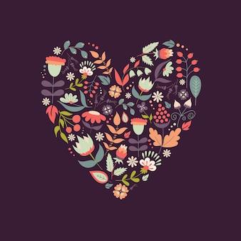 Bonita forma de corazón vintage con flores y hojas para vacaciones, ahorre la fecha, saludo, símbolo del amor