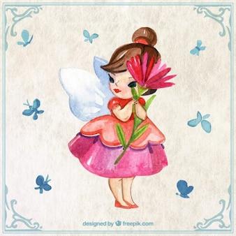 Bonita hada pintada a mano con una flor