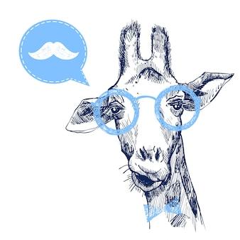 Bonita hipster jirafa con bigote