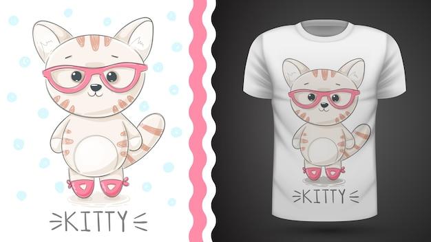 Bonita idea de kittty para camiseta estampada.