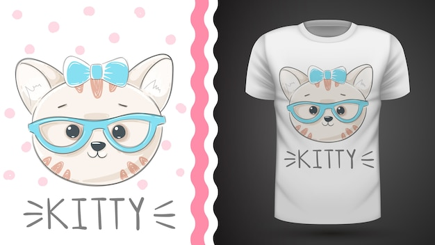 Bonita idea de kittty para camiseta estampada.