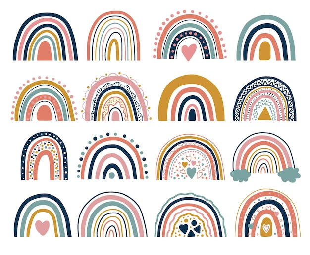 Bonita ilustración de arco iris bohemio neutral
