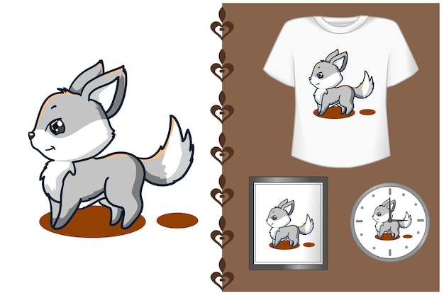 Bonita ilustración de dibujos animados de zorro