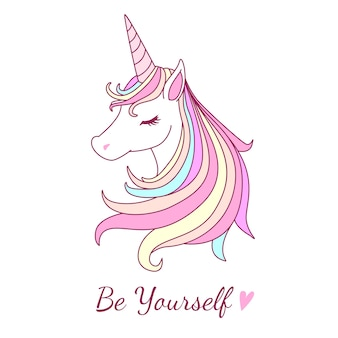 Bonita ilustración de unicornio con dulce tono de color pastel