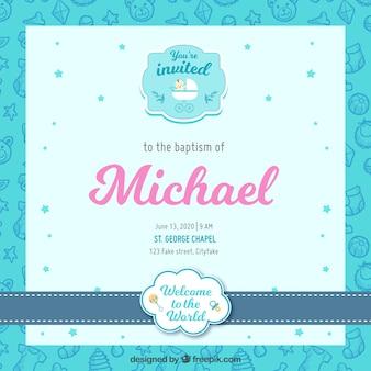 Bonita invitación de bautismo en diseño plano