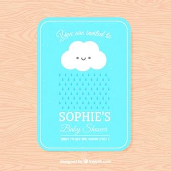 Bonita invitación de bienvenida del bebé con una nube