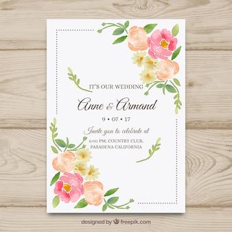 Bonita invitación de boda dibujada a mano con flores