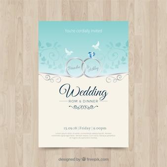 Bonita invitación de boda en diseño plano