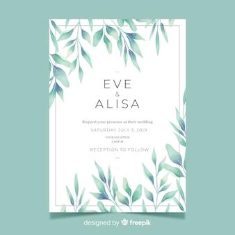 Bonita invitación de boda con hojas de acuarela