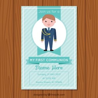 Bonita invitación de comunión con niño