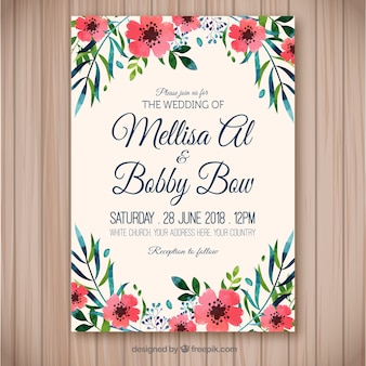 Bonita invitación de boda floral de acuarela