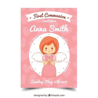 Bonita invitación de primera comunión