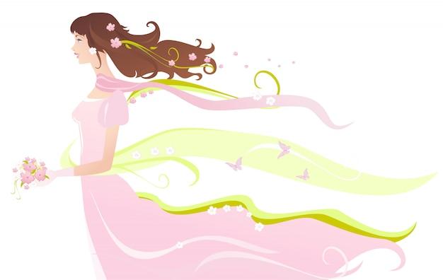Bonita novia en vestido rosa con ramo en la mano. v