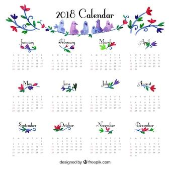 Bonita plantilla de calendario 2018 vintage