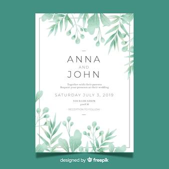 Bonita plantilla de invitación de boda con hojas de acuarela