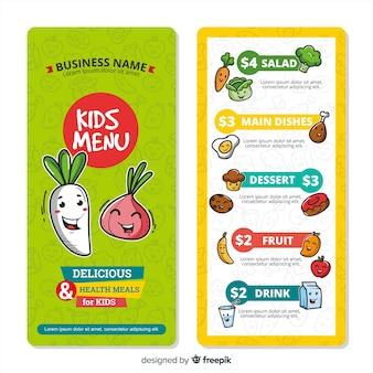 Bonita plantilla de menú para niños