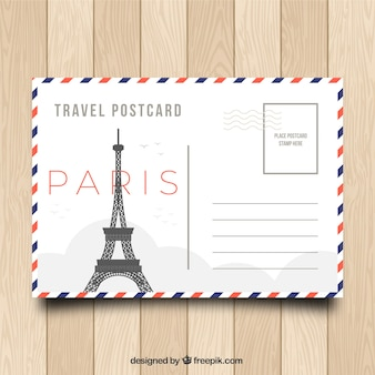 Bonita plantilla de tarjeta postal de viaje