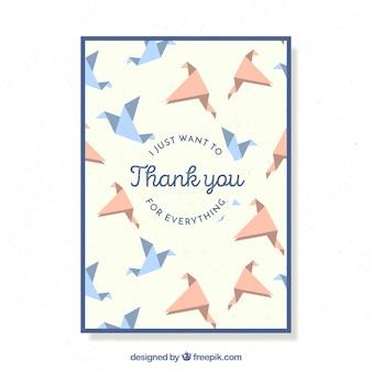 Bonita tarjeta de agradecimiento con pájaros de papel