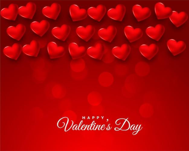 Bonita tarjeta de celebración roja del día de san valentín 3d