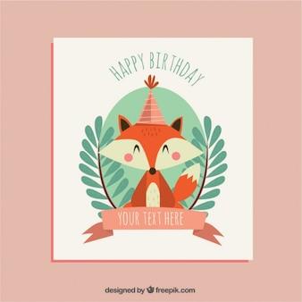 Bonita tarjeta de cumpleaños con simpático zorrito