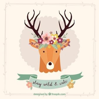 Bonita tarjeta decorativa de ciervo con detalles florales