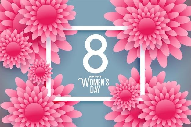 Bonita tarjeta de deseos de felicitación de flores para el día de la mujer