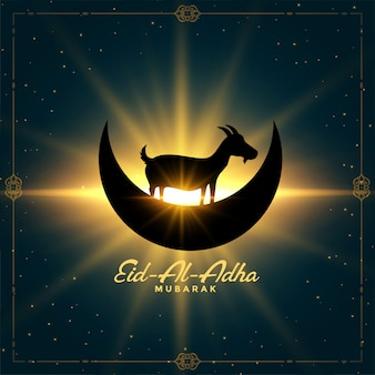 Bonita tarjeta de deseos del festival eid al adha bakrid que brilla intensamente