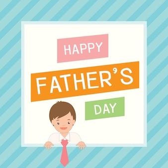 Bonita tarjeta del día del padre con niño disfrazando a su padre.