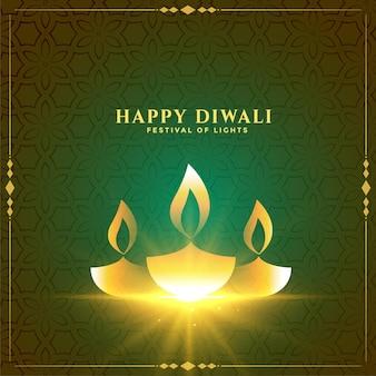 Bonita tarjeta del festival de diwali con diseño dorado de diya