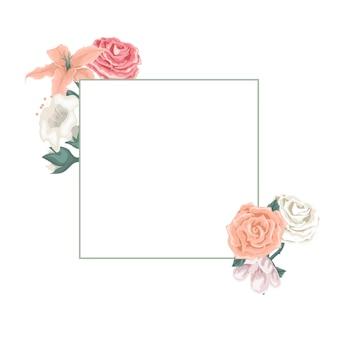 Bonita tarjeta con marco de flores y rosas.