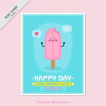 Bonita tarjeta con simpático helado