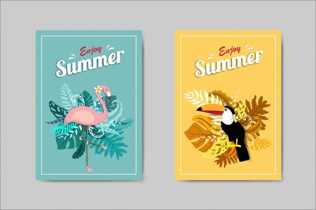 Bonita tarjeta de verano con flamenco y tucán.