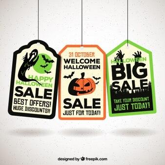 Bonitas etiquetas con artículos de halloween