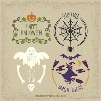Bonitas etiquetas en estilo vintage para halloween