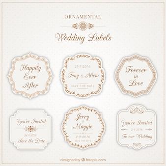 Bonitas etiquetas ornamentales para bodas