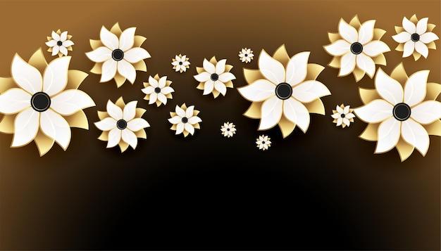 Bonitas flores doradas 3d sobre fondo negro