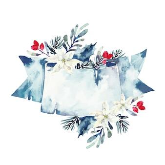 Bonitas flores de invierno con banner vacío