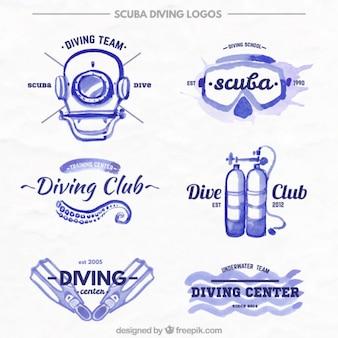 Bonitas insignias de acuarela de equipamiento de submarinismo