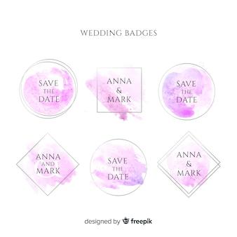 Bonitas insignias de boda con manchas de acuarela.