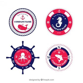 Bonitas insignias marineras en colores azul y rojo