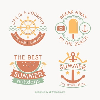 Bonitas insignias retro de verano