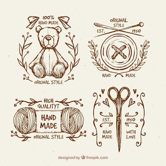 Bonitas insignias vintage de costura dibujadas a mano