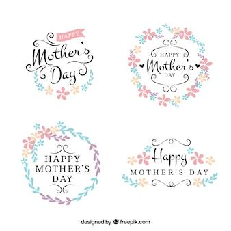 Bonitas pegatinas florales del día de la madre