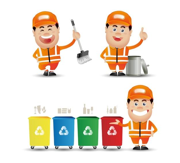 Bonitas personas. profesional. limpiador de calles