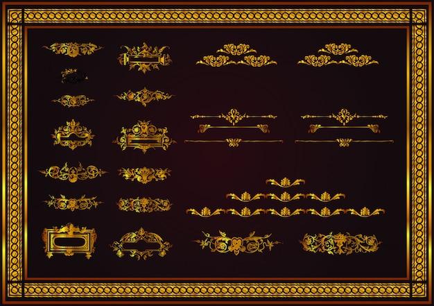 Bonitas reglas de página diferentes para un elegante diseño en color dorado.